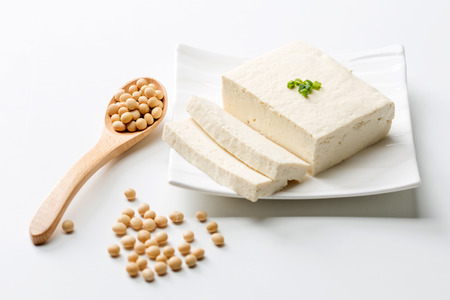 Slow food - Bean curd/tofu with brown beans shot in studio