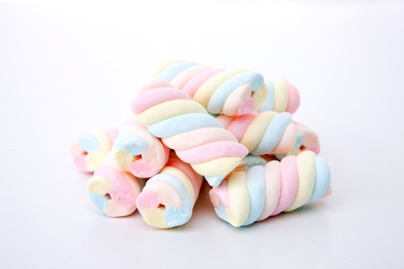 Sweet desserts - Colorful marshmallows in white background Stock Photo