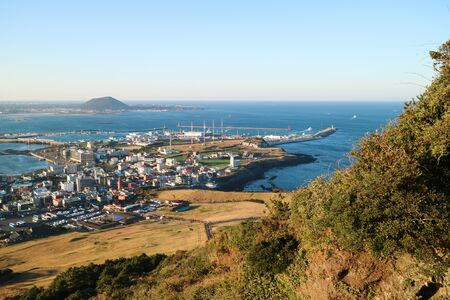 Scenery of the town with ocean