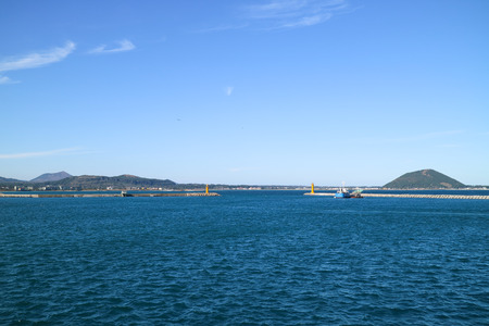 Scenery of the ocean inletlight house of Jeju Island