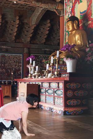 한국의 불교 사원 - 부처님의 제단을 숙인 한국 여성