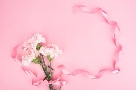 Geschenkideeën geschoten in studio - anjer met roze linten geïsoleerd