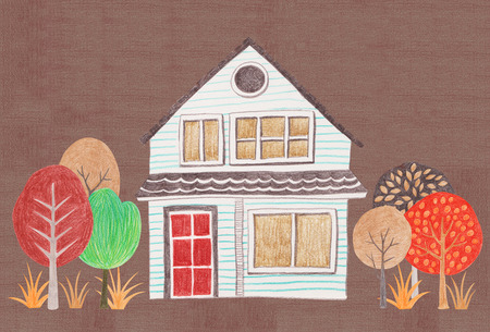 homecoming: Korean autumn landscapes drawn by colored pencils - Two story house