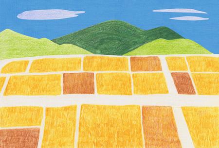 Koreaanse herfst landschappen getekend door gekleurde potloden - Rijstvelden en bergen Stockfoto