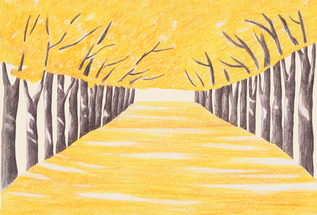 Korean autumn landscapes drawn by colored pencils - Tree lined road