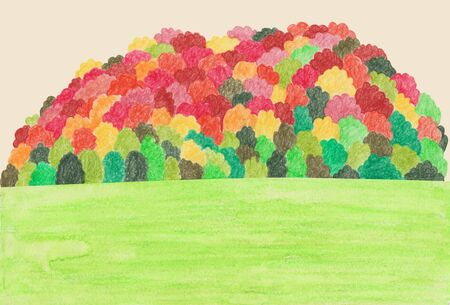 Korean autumn landscapes drawn by colored pencils - Maple trees on mountains Stock Photo