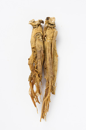 Dried red ginseng - isolated on white