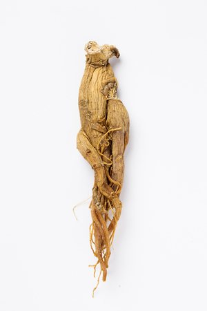 dried red ginseng, - isolated on white 版權商用圖片