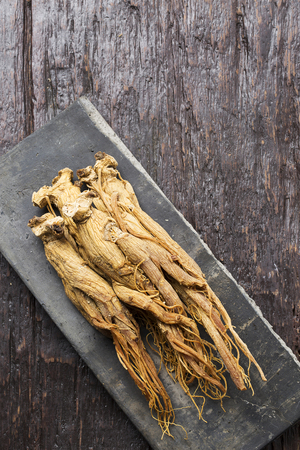 Dried red ginseng on Korean traditional roof tile
