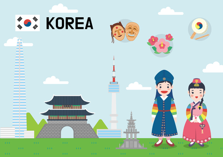 Global village concept vector illustration - Korea