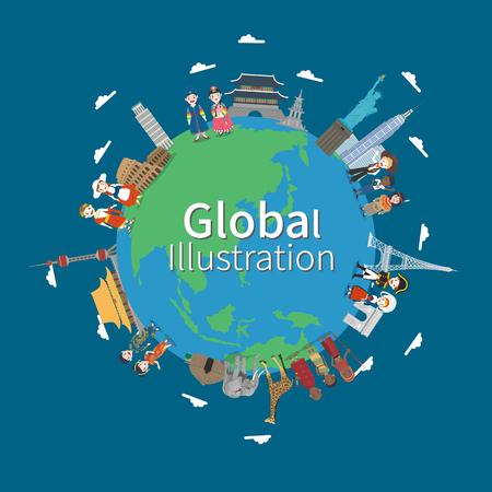 Wereldwijde dorp concept vectorillustratie