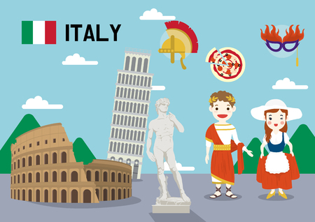Global village concept vector illustration - Italy