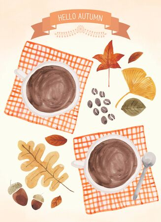 Autumn theme illustration - Coffee and maple leaves