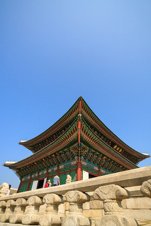 Gyeongbokgung: Korean palace - looking up beautiful eaves of the palace