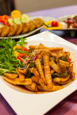 Korean dishes - stir-fried calamari with sauce