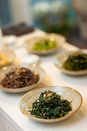 Korean side dishes - cooked greens