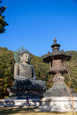 Mt. Seorak in Autumn - Statue of Buddha and steel tower