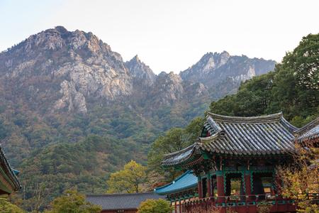 Mt. Seorak in Autumn - Scenery of temple and rocky mountain Stock Photo