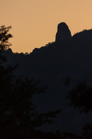 Mt. Seorak in Autumn - Close up shot of silhouette of rocky peaks at sunset Stock Photo