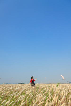 An opened umbrella blowing away from a girl standing in the middle of reed field