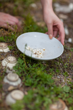 Korean folk village - Womans hand holding a pottery plate with white dry petals