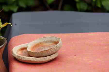 Korean folk village - Stacked pottery plates Stock Photo