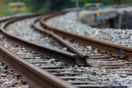 Close up shot of splitting railways in country side