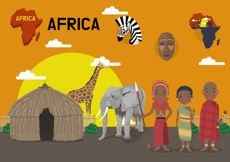 Global village concept vector illustration - Africa