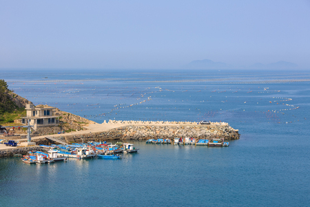Slow city island-Aerial scenery of the ocean way into the island