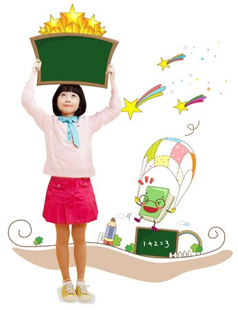 Young Asian girl with educationalstudy materials Imagens