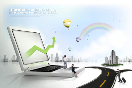 woman laptop: Computer graphic eco-friendly city illustration with real person figure Stock Photo