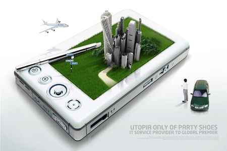 Computer graphic image of a city in a smart devicesmartphone