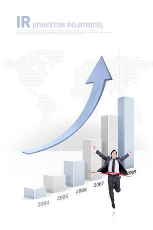 Business person crossing a finish line ribbon with increasing bar graphs Stock fotó