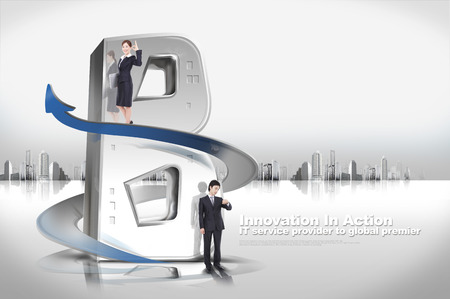 Asian business staff with gigantic B letter with increasing graph arrow Фото со стока - 85750249