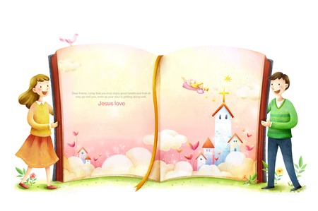 Colorful illustration of angely flying to the church in the book and children
