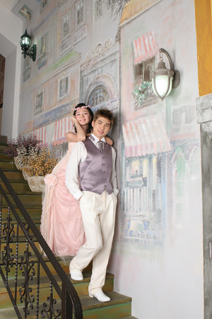 parapet: Asian young couple in happy leaning on wall