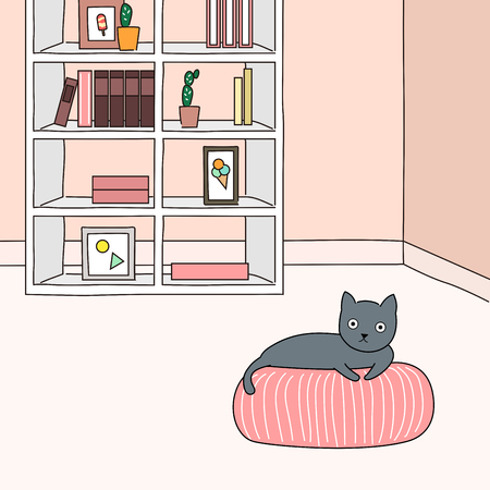 Cute black cat resting in the room - vector illustration Фото со стока - 86698982