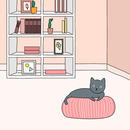 Cute black cat resting in the room - vector illustration