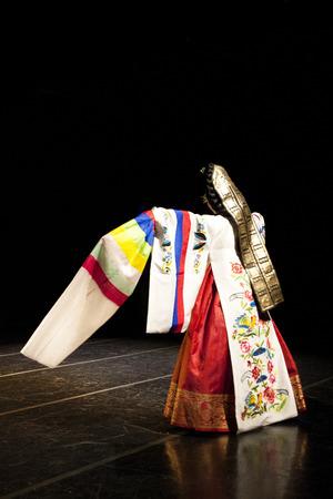 Korean traditional dancer performs