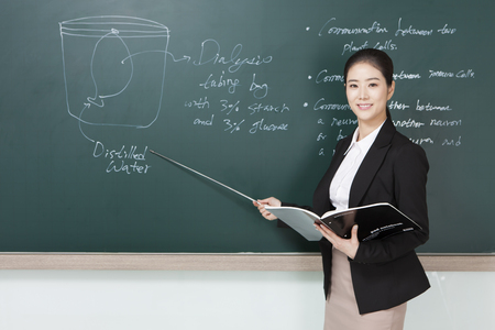 Asian female teacher teaching a class