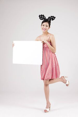 Asian retro woman with white panel isolated on white