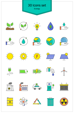 potential: Line Icons ecology Vector illustration. Illustration