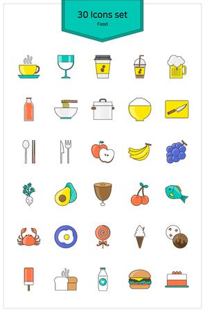 Line Icons food Vector illustration. Çizim