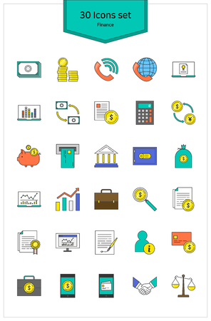 Line Icons banking Vector illustration.