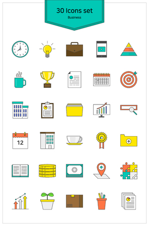 Line Icons business Vector illustration.