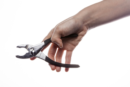 pliers: Hand holding nipper isolated on white