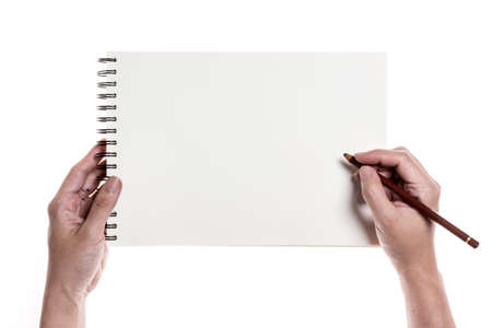 Hand writing on drawing book isolated on white