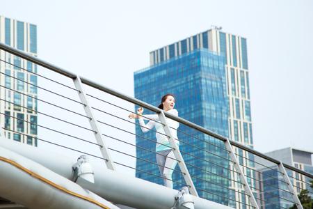 Asian beautiful woman jogging outdoor