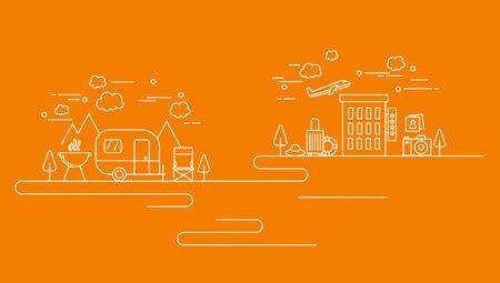Business line on orange background, vector illustration.  イラスト・ベクター素材