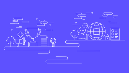 Business line on blue background, vector illustration.  イラスト・ベクター素材
